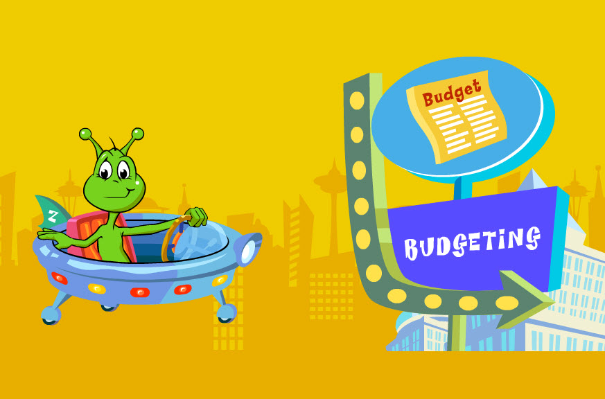 zing the alien and a budgeting sign